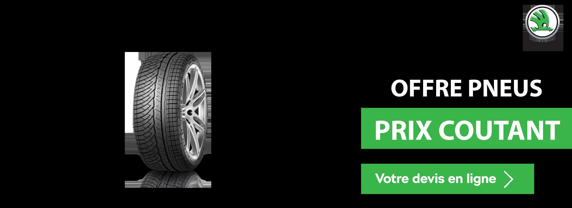 Bannière pneus prix coutant Skoda laval